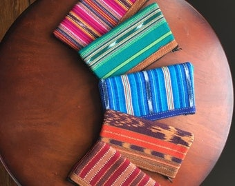 Hand-woven Pouch with Leather
