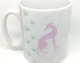 Pink Greyhound Silhouette Mug