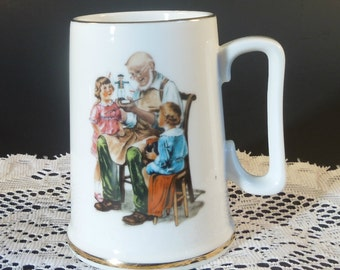 1986 The Toy Maker Tankard Inspired by the art of Norman Rockwell
