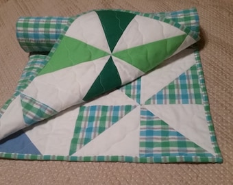 Cotton Baby Quilt - blue, green, white, plaid