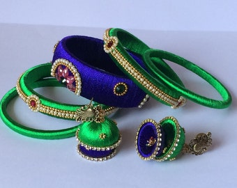 Silk Thread Bangles/ Indian Bangles With Double Layered Jhumka Earrings