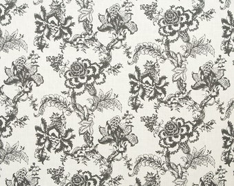 Linen Fabric By the yard Blossom Dark Grey on Ivory