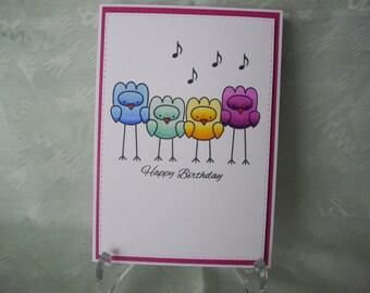 Greeting card, greeting card, happy birthday, funny birds