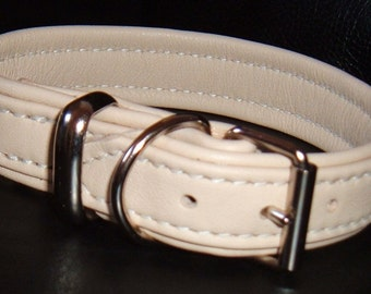 Cream leather dog collar