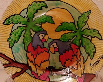 Macaws Glass Plate