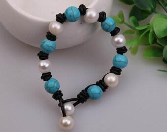 "Handknotted Freshwater Pearl Bracelet,Turquoise Bracelet,Natural Stone Jewelry,Blue Beads Bangle,Handmade Women Bracelet,8"" Wrist Band,B0024"