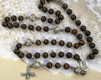New Jerusalem rosary, Jerusalem rosary, men's rosary, catholic gift, wood rosary, pearl rosary, gift rosary, confirmation gift,