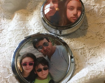 Mirror or pill box photo souvenir! Over the top gift idea.