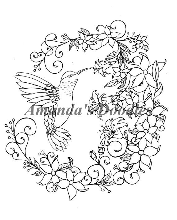 hummingbird and floral flower wreath coloring page