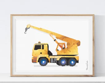Crane Truck, Construction Crane, Crane Printable, Construction Nursery, Truck Nursery Decor, Toddler Decor, Tractor Crane, Watercolor Print