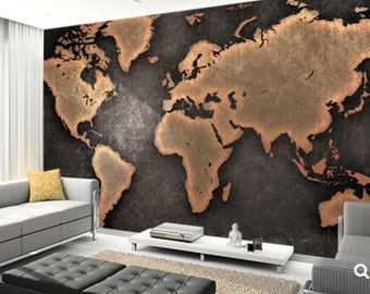 world map 3d MURAL, old map wallpaper, old map mural, self-adhesive vinly, world map wall mural, old map, vintage map wall mural