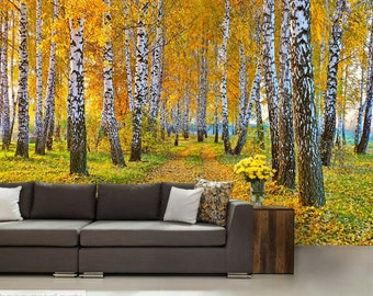 FOREST WALL MURAL, birch forest wall mural, birch tree wall mural, forest mural, self-adhesive vinly, birch wall decal, moor wall mural,