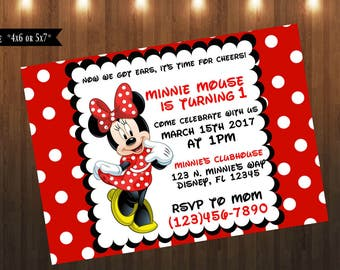 Minnie Mouse Invitation|Digital File Only|4x6 or 5x7