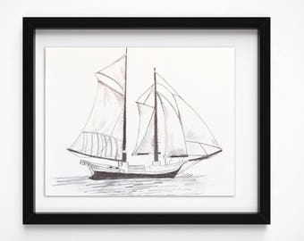 Sailboat drawing, Nautical pencil sketch, Boat print, original art sketch, Boat illustration, black and White Print, Graphite drawing