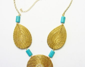 Golden Grass Necklace With Natural Turquoise Stones