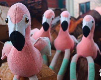 Flamingo - Toy flamingo - Vintage blanket toy - Upcycled wool blanket