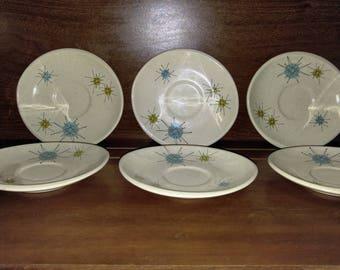 Franciscan Atomic Starburst Saucers DISPLAY ONLY Mid Century Modern Earthenware  6 pieces Dinner Dishes Sputnik 1950s 1960s Gladding McBean