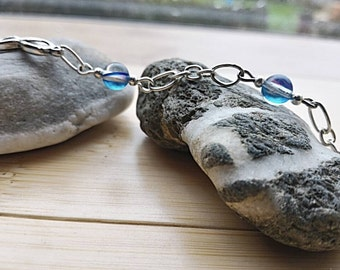 Beaded bracelet aqua aura, very high frequency energy, connection with the subtle planes.