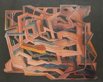 Mixed media, hand cut, paper original, abstract - The Maze