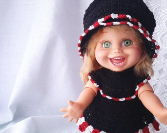 Galoob baby face doll clothes. Crochet suit + crochet hat