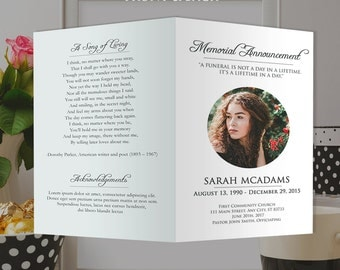 White Funeral Program Template - Photoshop PSD *INSTANT DOWNLOAD*