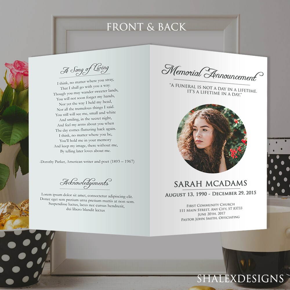 funeral remembrance cards template - white funeral program template photoshop psd instant