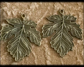 Beautiful Antique Brass Leaf Charms Drops Pair - 40mm - B14