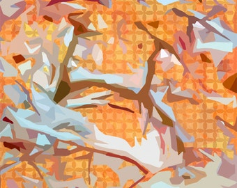 Chaparral, giclee art print, fall, winter, mosaic, landscape, trees, orange, blue, branches