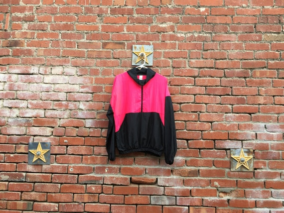 Fresh to Death Windbreaker// 90s Windbreaker Neon Pink and Black