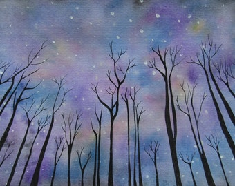 LAST CHANCE SALE: Print of night sky watercolour painting