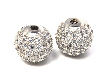 Two beads, Silver, Clear Cubic Zirconia  (AAA Grade) 10mm beads
