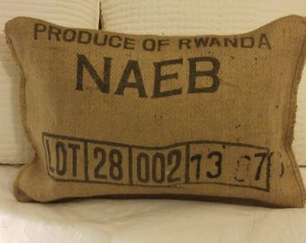 Produce of Rwanda Pillow made from original coffee bean bag