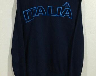 Rare!!! Vintage Kappa Sweatshirt Big Logo Embroidery Kappa Italia Spellout Pullover Jumper Sweater Sportwear