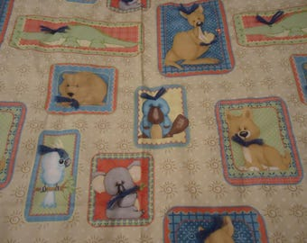 Quilt. Boy. Baby Quilt. Hand Tied. Baby And Toddler Quilt. Outback Animal Print Over Tan Sun Print.