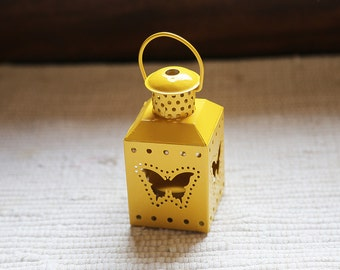 Yellow lantern (for small candle). Decor, accessory