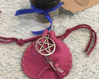 Amulet Protection Bag Wiccan Spell Leather Pink