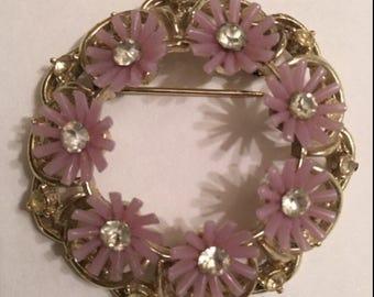 Vintage Flower Circle Pin