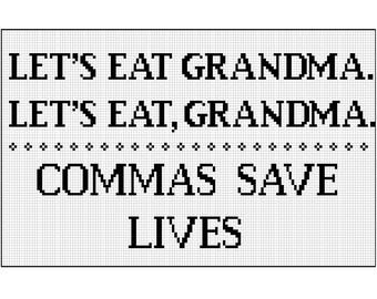 Commas save lives / modern cross stitch kit