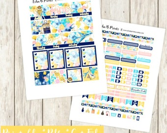 Adventure Awaits LIGHT Printable Planner Stickers/Monthly Kit/Erin Condren/Cutfiles Circut June Summer Glam Vacation Travel