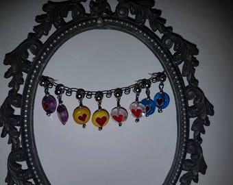 Cute Glass Heart Stud Earings