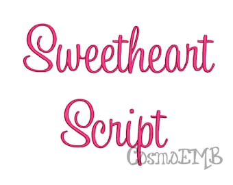 5 Size Sweetheart Script Font Embroidery Design Machine Embroidery - Digital INSTANT DOWNLOAD