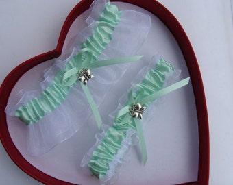 Wedding Garters Mint White Set Keepsake Toss Prom