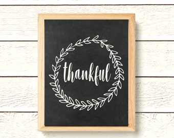 Thankful Chalkboard Printable - Instant Download - Print - Give Thanks