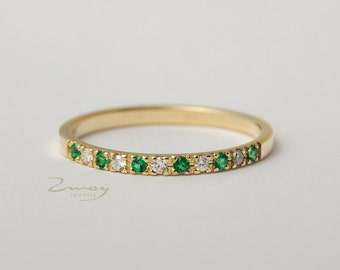 delicate thin ring, diamond half eternity band, Delicate Thin Eternity ring, Emerald Half Eternity ring, emerald band rings, wedding band