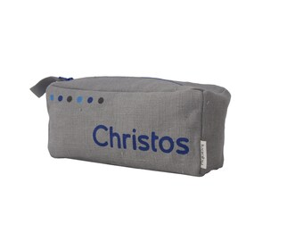 Personalised blue pencil case with small dots pattern