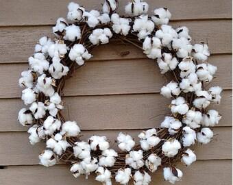Cotton Boll Rustic Farmhouse Wreath, All Season Wreath, Cotton Boll Wreath, Farmhouse Decor