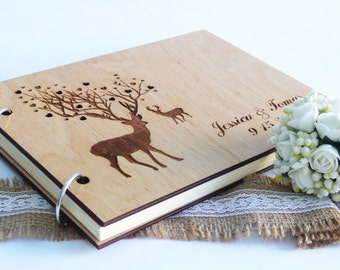 Wedding Guest Book Wooden Guest Book Deers Guestbook Custom Guest Book Rustic Guest Book Engraved Guest Book Wedding Book Wedding Memory