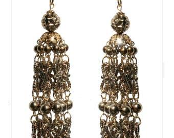 Chandelier bead earrings with Octagon stones