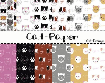 Cat Digital papers, Pack of 12 leaves model cat, For Scrapbook or wallpapers in Jpg, Collectible for scrapbooking, Instant Download
