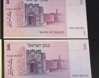2 UNC 1 Shekel 1978 Montifiorie  BankNotes Bank Of Israel Unique Numbers